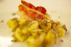 Gnocchetti di patata con battuto di vitello e prosciutto crudo croccante