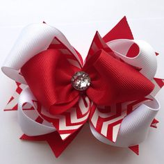 "Girls 5.5"" Christmas Red & White ""Frozen"" Ribbon Bow Clip"