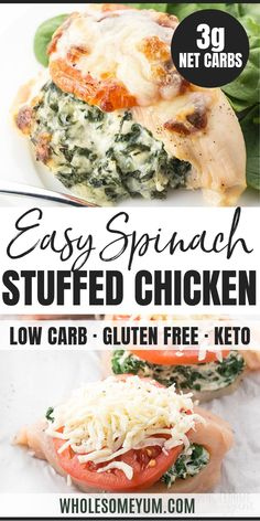Easy Spinach Stuffed Chicken Breast Recipe with Cheese - 6 Ingredients - This cheese and spinach stuffed chicken breast recipe takes just 30 minutes! Just a few common ingredients needed for the best easy spinach and cheese stuffed chicken ever. Healthy Stuffed Chicken Breast, Ricotta Stuffed Chicken, Feta Chicken, Chicken Breast Recipes Healthy, Spinach Stuffed Mushrooms, Baked Chicken Breast, Stuffed Chicken Breasts, Chicken Fillet Recipes, Easy Chicken Recipes