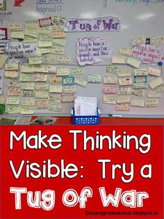 Secondgradealicious: How About a Tug of War? Making Thinking Visible - an excellent resource for promoting engagement and higher order thinking skills!