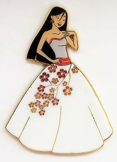 MULAN DESIGNER BRIDE WEDDING DAY GLITTER PRINCESS HEROINE FANTASY PIN LE 50 3in