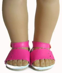 """Hot Pink Scalloped Edge Sandals Shoes for 18"""" American Girl Doll Clothes Quality #DollClothesSewBeautiful"""