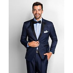 [CyberWeekSale]Dark Blue Polester Standard Fit Two-Piece Tuxedo - USD $ 69.99