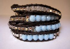 Lucky light blue beaded leather wrap by CristinaDavisJewelry, $40.00