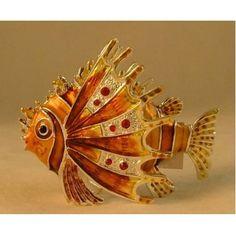 Tropical Lion Fish Crystal Jewelled Hinged Trinket Box