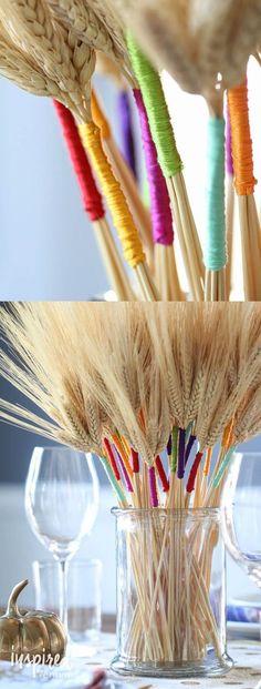 DIY Color Wrapped Wheat | http://inspiredbycharm.com #thanksgiving #centerpiece #diy