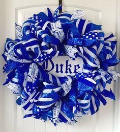 DUKE Wreath Duke University Duke Blue Devils by beadingheartdecor
