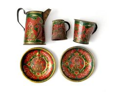 beautifully aged tin tea set from