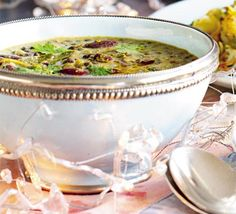 Dhal, made from lentils, peas or beans, is eaten all over India, with bread or rice