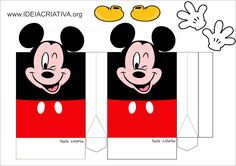 Moldes de caixinhas, lembrancinhas para festas Theme Mickey, Mickey Party, Mickey Mouse Birthday, Minnie Mouse Party, Mouse Parties, Mickey Mouse Toys, Mickey Mouse Design, Mickey Mouse Clubhouse, Mickey Mouse Template