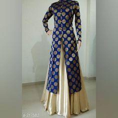 No photo description available. Silk Kurti Designs, Kurti Designs Party Wear, Blouse Designs, Stylish Dresses, Fashion Dresses, Frocks And Gowns, Designer Anarkali Dresses, Pakistani Dress Design, Lengha Design