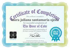 Certificate for laura juliana santamaria ojeda