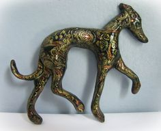 "Greyhound Whippet Galgo Clay Sculpture Figurine Wall Art ""Kakra"""