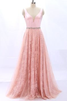 6f85c84cd402 MACloth Straps V Neck Lace Satin Pink Prom Dress Formal Evening Gown  Fuchsia Dress, Pink
