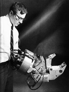 IRON MAN:  Ralph Mosher, an engineer working for General Electric in the 1950s, developed a robotic exoskeleton called Hardiman. The mechanical suit, consisting of powered arms and legs, could give him superhuman strength.