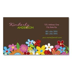 Sweet Whimsical Spring Flowers Colorful Garden Business Card Templates