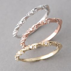 CZ ELEGANT SINGLE RIBBON RING WHITE GOLD STACKING RING by kellinsilver jewelry
