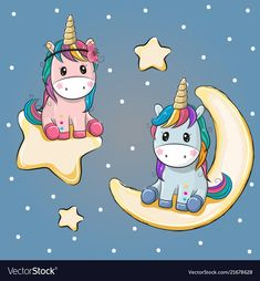 Valentine card with two Unicorns on a moon and star. Valentine card with Lovers Unicorns on a moon and star vector illustration Unicorn Drawing, Unicorn Art, Cute Unicorn, Kids Cartoon Characters, Cartoon Kids, Cute Cartoon, Cartoon Drawings, Cute Drawings, Cartoon Mignon