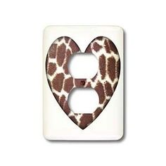 Giraffe Print Heart- Animals- Nature- Art - Light Switch Covers - 2 plug outlet cover