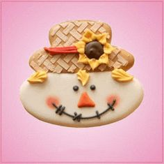 Our Scarecrow Face cookie cutters are approximately 3 inches tall, 3-1/4 inches wide, and are made of yellow plastic. Cleaning instructions: hand wash, towel dr