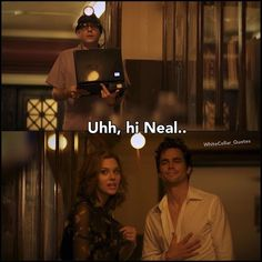 Neal, Mozzie and Sara. White Collar Quotes. I love the look Neal is giving Moz here