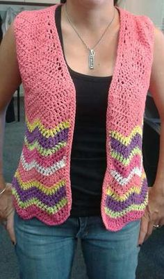 Chaleco Tejido A Mano Al Crochet. Saco Manguitas - $ 360,00