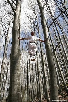♂ Chinese martial arts kungfu shaolin man in white tree forest