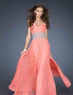 Fashion Long Pink Sweetheart Sleeveless Natural Prom Dress momodresses27105