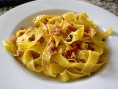 [Homemade] Parpadelle Carbonara with fresh pasta. Pasta Al Pesto, Pasta Food, Parpadelle Pasta Recipe, Pasta Recipes, Cooking Recipes, Fresh Pasta, Homemade Pasta, Gnocchi, Healthy Dinner Recipes
