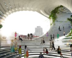 Danish firm Bjarke Ingels Group have designed a technology centre for Taipei, Taiwan, comprising a cube-shaped structure with round voids cut from its volume.