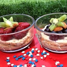 Ripped Recipes - Mini Protein Cheesecake  - In honor of Memorial day, I made these festive mini cheesecakes but you can alter the toppings for any occasion. These mini protein cheesecakes are layered on top of a graham cracker/date caramel/oat crust and topped off with strawberries, blueberries, almonds, and kiwi stars. The cheesecakes themselves are vegan but the crust is not so feel free to swap out the protein for a plant based protein.