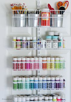 Love this over the door craft storage idea!