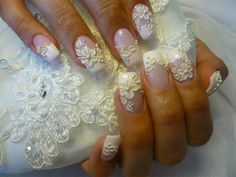 awesome Nail Art Designs For Women From Celebrities Nail Designs - Pepino Top Nail Art Design 3d Nail Art, 3d Nails, Cute Nails, Art 3d, Nail Arts, Acrylic Nails, Wedding Nails For Bride, Bride Nails, Wedding Nails Design
