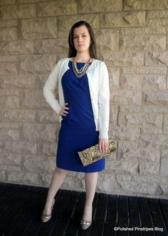 What to Wear to Work: Cobalt Dress and Leopard Clutch