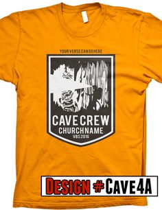 Cave Quest VBS t-shirts.  We offer FREE shipping on all VBS orders.  All shirts are designed to be customized for your VBS program- choose shirt color, design colors, church name, tag line and/or verse.