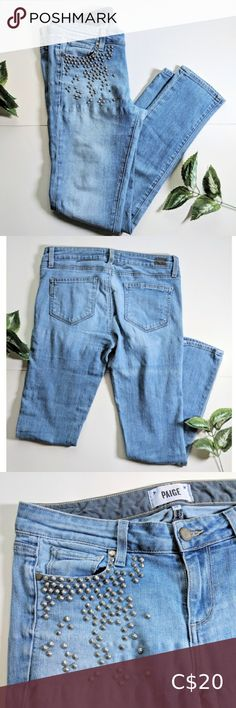 """Paige embellished jeans size 28 Fair/good pre-owned condition. Has some washwear and the denim feels thinned out especially in the gusset. Measurements: 15.5"""" waistband laying flat / 8"""" rise from top of waistband to crotch seam / 17.5"""" across hips / 28.5"""" inseam / 5.25"""" leg opening Measurements are approximate. PAIGE Jeans Skinny Purple Skinny Jeans, Printed Skinny Jeans, Cropped Skinny Jeans, Mid Rise Skinny Jeans, Distressed Skinny Jeans, Pegged Jeans, Plaid Jeans, Paige Denim Jeans, Tie Dye Jeans"""