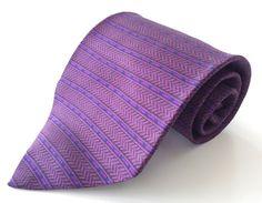 HONORS Neck Tie Purple Blue Black Stripe Herringbone 100% Silk #HONORS #NeckTie