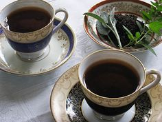 Sage tea - this recipe seems easy to play with for tea. All through high school we hung out at this restaurant that served amazing Middle Eastern food and syrupy sweet sage tea.