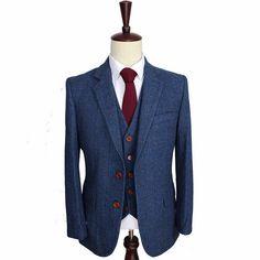 Wool Blue Herringbone 3 Piece Suit