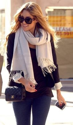 Lauren Conrad. Chanel cashmere. Chanel classic. Black blazer. Denim.