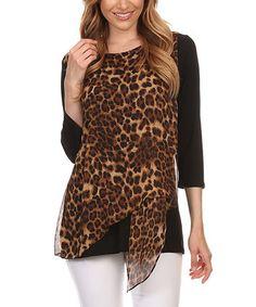 Another great find on #zulily! Black & Brown Cheetah Raglan Top - Plus Too #zulilyfinds