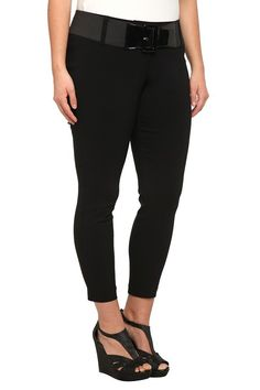 Black Belted Bengaline Skinny Pants  Crafted from rayon with a dose of stretch, these black skinny pants are a stylish go-to pair for any occasion. A clean, pocketless front and faux welt back pockets keep the silhouette sleek.