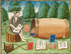 Diogenes the Cynic, living in a barrel with his many books (Free Library of Philadelphia, Lewis E 209) my comment: note living seat, raised turf bed with wicker support.