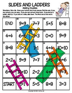 "Here's a ""Slides and Ladders"" game for practicing doubles facts."