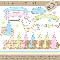 Digital Clipart  Special Delivery New Baby DC4898 by ClipArtCorner, $3.50