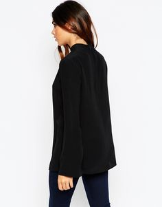 Image 2 ofASOS High Neck Tunic Top With Plunge Neck Cut Out