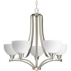 Progress Lighting Legend 28-in 5-Light Brushed Nickel Etched Glass Shaded Chandelier