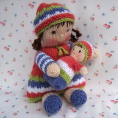 LINDY LOU and her little dolly - knitted toy dolls - PDF email knitting pattern. $3.99, via Etsy.