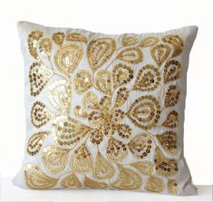 Ivory White Pillow Covers Gold Sequins Dazzling by AmoreBeaute Glam Pillows, Teal Throw Pillows, Decorative Throw Pillows, Sofa Pillows, White Pillow Covers, Throw Pillow Covers, Cushion Covers, White And Gold Pillows, Summer Christmas Gifts