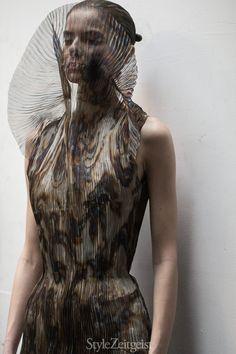 Artistic Fashion - sheer dress with hand-burnished nebula print; futuristic fashion // Iris van Herpen Fall 2015